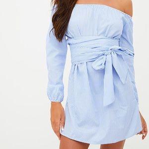 PLT Blue pinstripe tie waist dress